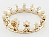 Yellow Citrine 18k Gold Over Silver Crown Ring .15ctw
