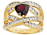 Red Garnet And White Zircon 18k Yellow Gold Over Silver Ring 2.08ctw