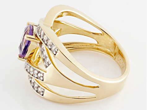 Purple Amethyst And White Zircon 18k Yellow Gold Over Silver Ring 1.60ctw
