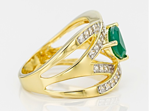 Green Onyx And White Zircon 18k Yellow Gold Over Silver Ring .69ctw