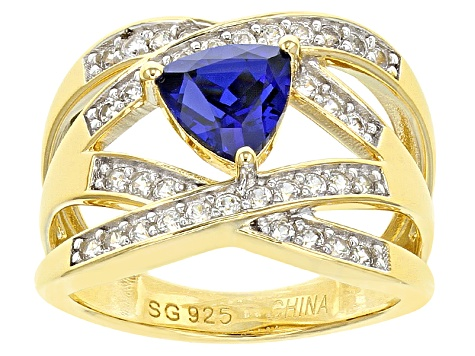 Blue Lab Created Sapphire And White Zircon 18k Gold Over Silver Ring 2.10ctw
