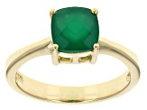 Green Onyx 18k Yellow Gold Over Sterling Silver Ring 7mm