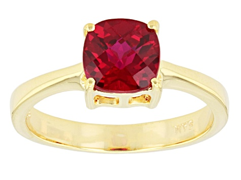 Red Lab Created Ruby 18k Gold Over Silver Necklace 1.90ct
