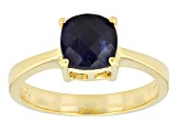 Blue Sapphire 18k Yellow Gold Over Silver Ring 2.10ctw