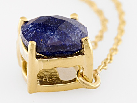 Blue Sapphire 18k Yellow Gold Over Silver Necklace 2.10ctw
