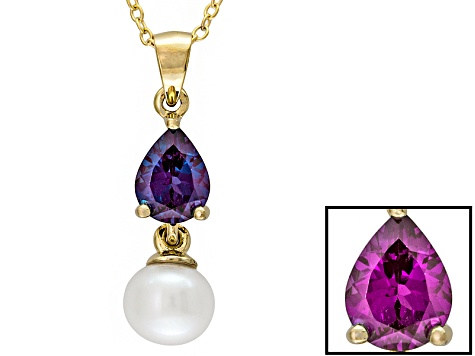 Blue Lab Created Alexandrite 18k Gold Over Silver Pendant With Chain 1.12ct