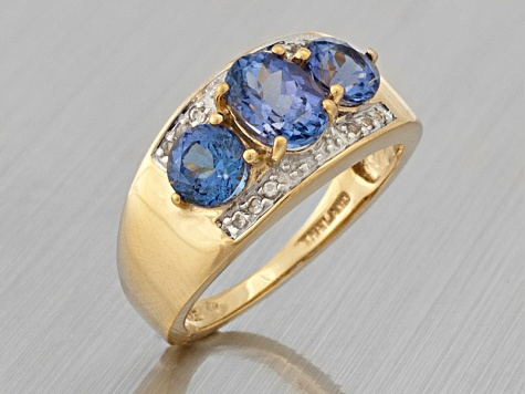 3-Stone Ring Blue Tanzanite And White Topaz 18k Gold Over Silver
