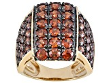 6.57ctw Round Imperial Zircon 18kt Yellow Gold Over Sterling Silver Ring