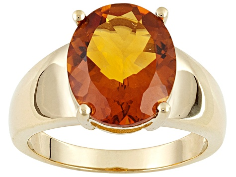 Womens Ring Yellow Labradorite Orange-Yellow Citrine 18k Yellow Gold Over Silver