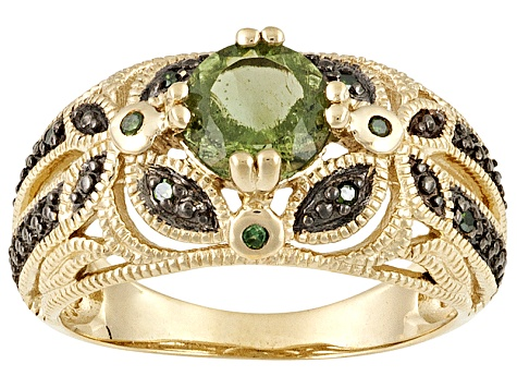 Moldavite And Green Diamond 18k Gold Over Sterling Silver Band Ring .85ctw