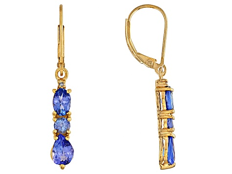 2.91ctw 6x4mm Oval Tanzanite Diamond Solid 18kt Gold Over Silver  Earrings