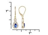 0.83ctw Blue Tanzanite White Diamond 18kt Gold Over Silver Lever Earrings