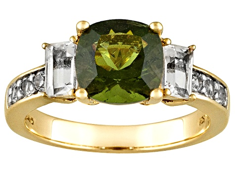 Moldavite And White Topaz 18k Yellow Gold Over Sterling Silver Ring