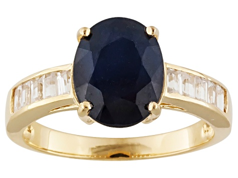 Blue Sapphire And White Zircon 18k Yellow Gold Over Sterling Silver Ring 3.10ctw