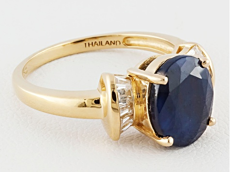 Blue Sapphire And White Zircon 18k Yellow Gold Over Sterling Silver Ring 3.15ctw