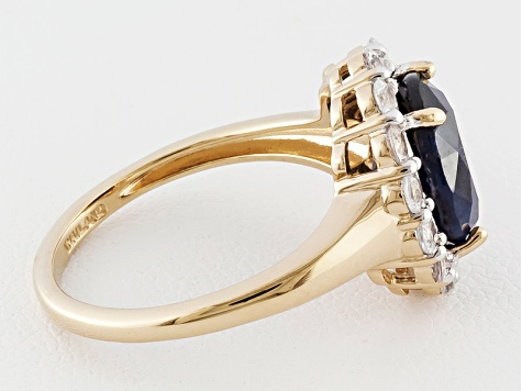 Blue Sapphire 18k Yellow Gold Over Sterling Silver Ring 3.37ctw