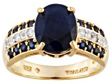Blue Sapphire And White Zircon 18k Yellow Gold Over Sterling Silver Ring 3.55ctw