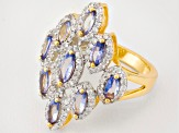 Tanzanite And White Zircon 18k Yellow Gold Over Sterling Silver Ring 1.70ctw