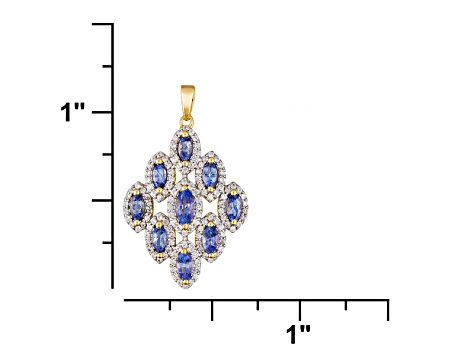 Blue Tanzanite And White Zircon 18k Gold Over Silver Pendant With Chain 1.70ctw