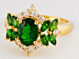 Green Chrome Diopside 18k Gold Over Silver Ring 2.19ctw