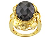 Black Spinel 18k Yellow Gold Over Sterling Silver Ring 13.00ct