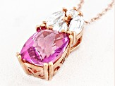 Pink And White Topaz 18k Rose Gold Over Silver Pendant With Chain 3.69ctw