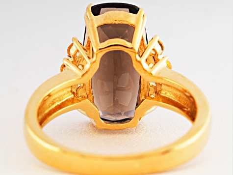 Brown Smoky Quartz 18k Gold Over Silver Ring 4.29ctw