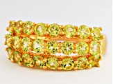 Green Peridot 18k Yellow Gold Over Silver Ring 2.65ctw