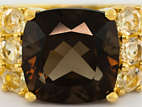Brown Smoky Quartz And Lemon Quartz 18k Gold Over Silver Ring 3.91ctw