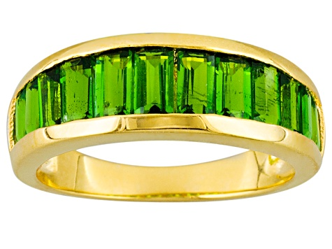 Green Chrome Diopside 18k Gold Over Silver Ring 2.13ctw