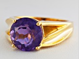 Purple Amethyst 18k Gold Over Silver Solitaire Ring 3.30ct