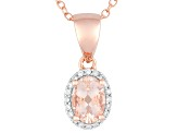 Pink Morganite 18k Rose Gold Over Silver Pendant With Chain .84ctw