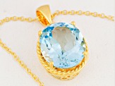 Sky Blue Topaz 18k Gold Over Silver Pendant With Chain 7.70ct