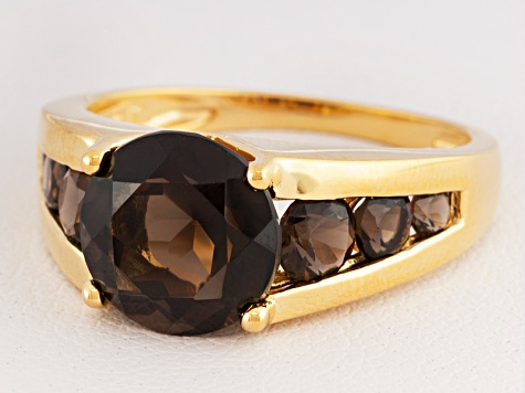 Brown Smoky Quartz 18k Gold Over Silver Ring 2.77ctw