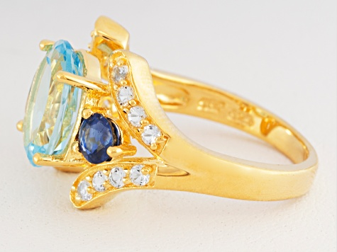 Sky Blue Topaz, Kyanite And White Topaz 18k Yellow Gold Over Silver Ring 4.45ctw