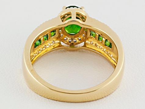 Green Chrome Diopside 18k Gold Over Silver Ring 1.24ctw