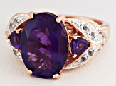 Purple African Amethyst 18k Rose Gold Over Silver Ring 4.88ctw