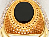 Black Spinel 18k Yellow Gold Over Sterling Silver Ring 11.78ctw