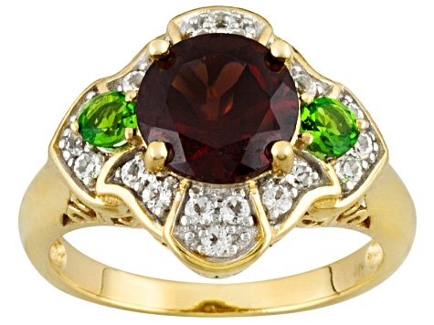 Red Garnet, Chrome Diopside And White Topaz 18k Yellow Gold Over Sterling Silver Ring 2.39ctw