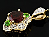 Red Garnet, Chrome Diopside And White Topaz 18k Gold Over Silver Pendant With Chain 2.43ctw