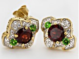 Red Garnet, Chrome Diopside And White Topaz 18k Yellow Gold Over Silver Earrings 2.42ctw