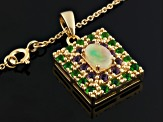 Ethiopian Opal, Rhodolite And Chrome Diopside 18k Gold Over Silver Pendant With Chain 1.32ctw
