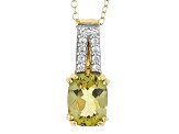 Yellow Apatite And White Zircon 18k Gold Over Silver Pendant With Chain 1.78ctw
