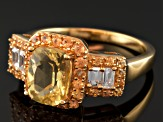 Yellow Apatite, White Zircon And Yellow Sapphire 18k Gold Over Silver Ring 2.16ctw