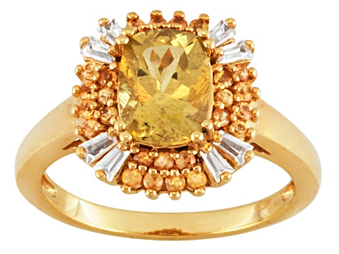 Yellow Apatite 18k Gold Over Silver Ring 1.80ctw