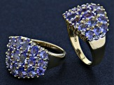 Blue Tanzanite 18k Gold Over Silver Cluster Ring 3.21ctw
