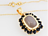 Gray Moonstone 18k Gold Over Silver Pendant With Chain 2.47ctw