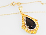 Smoky Quartz, Citrine And White Topaz 18k Gold Over Silver Pendant With Chain 7.10ctw