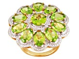 Green Peridot And White Topaz 18k Gold Over Silver Ring 8.15ctw