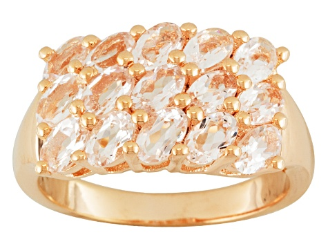 Peach Morganite 18k Rose Gold Over Silver Ring 3.24ctw